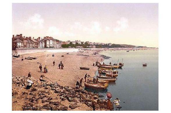 Altes Photochrome-Farbfoto Strand von Exmouth (Neudruck als Postkarte)