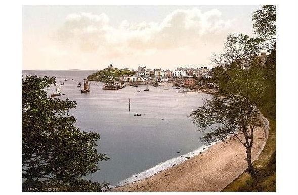 Altes Photochrome-Farbfoto Panorama von Tenby (Neudruck als Postkarte)