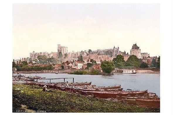 Altes Photochrome-Farbfoto Ansicht von Windsor vom Fluß (Neudruck als Postkarte)