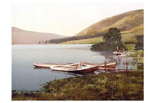 Altes Photochrome-Farbfoto St. Marys Loch bei Moffat (Neudruck als Postkarte)