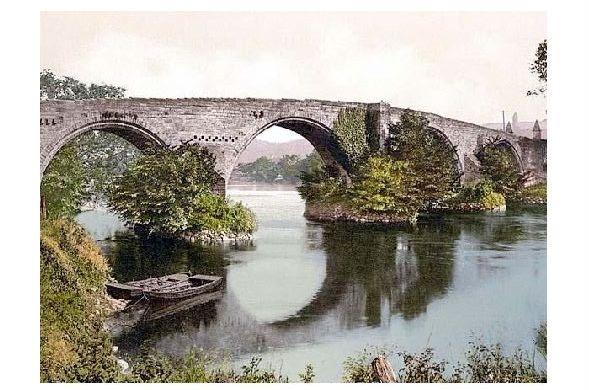 Altes Photochrome-Farbfoto Alte Brücke bei Stirling (Neudruck als Postkarte)