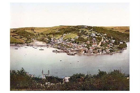 Altes Photochrome-Farbfoto Panorama von Kingswear (Neudruck als Postkarte)