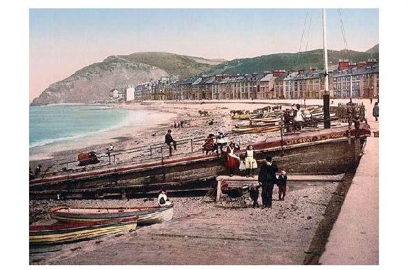 Altes Photochrome-Farbfoto Strand von Aberystwith (Neudruck als Postkarte)