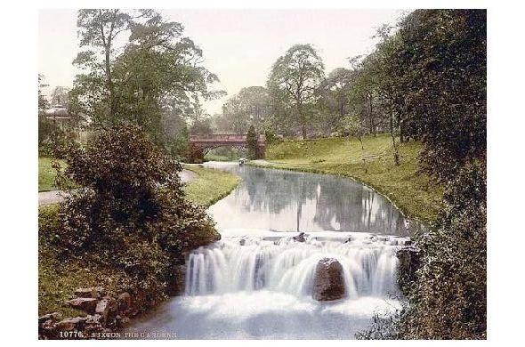 Altes Photochrome-Farbfoto Parkanlage in Buxton (Neudruck als Postkarte)