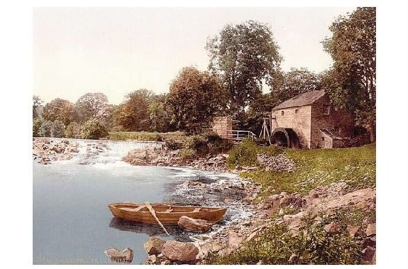 Altes Photochrome-Farbfoto Alte Mühle bei Armathwaite (Neudruck als Postkarte)