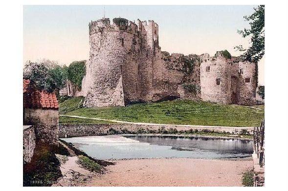 Altes Photochrome-Farbfoto Burgruine in Chepstow (Neudruck als Postkarte)