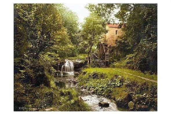 Altes Photochrome-Farbfoto Rigg Mühle bei Whitby (Neudruck als Postkarte)