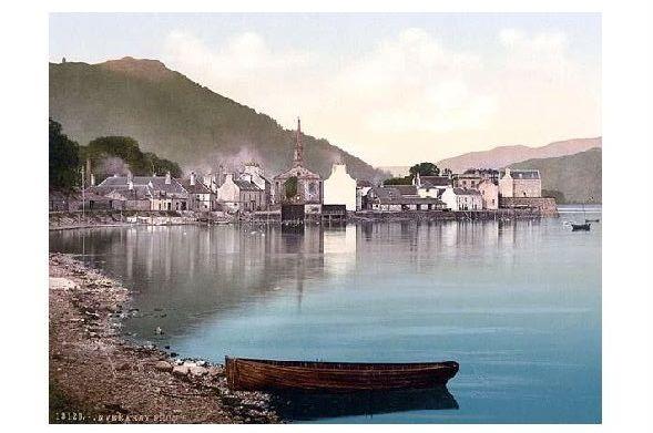 Altes Photochrome-Farbfoto Panorama von Inveraray (Neudruck als Postkarte)