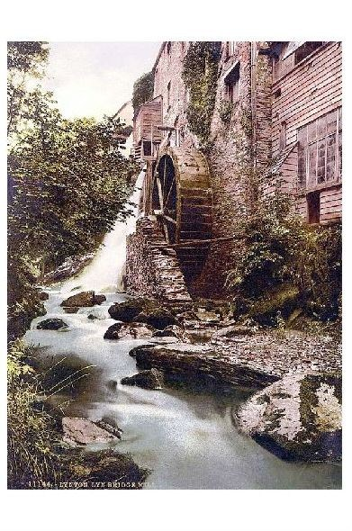 Altes Photochrome-Farbfoto Lyn Mühle bei Lynton and Lynmouth (Neudruck als Postkarte)