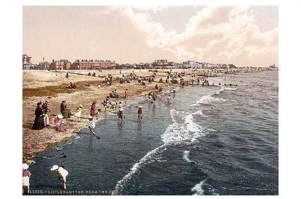 Altes Photochrome-Farbfoto Strand von Littlehampton (Neudruck als Postkarte)