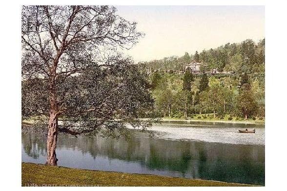 Altes Photochrome-Farbfoto Ochtertyre und See bei Crieff (Neudruck als Postkarte)