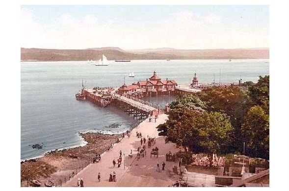 Altes Photochrome-Farbfoto Seebrücke in Dunoon (Neudruck als Postkarte)