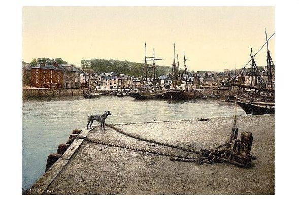 Altes Photochrome-Farbfoto Hafen von Padstow (Neudruck als Postkarte)