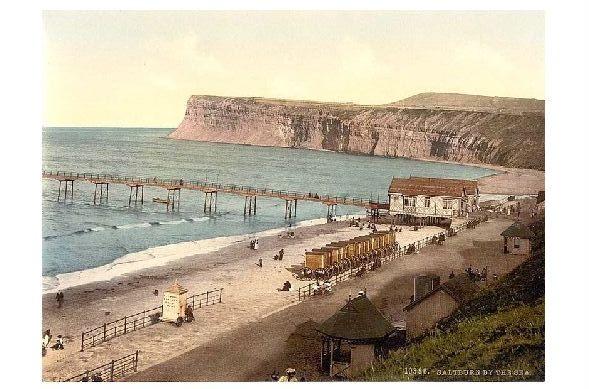 Altes Photochrome-Farbfoto Strand von Saltburn by the Sea (Neudruck als Postkarte)