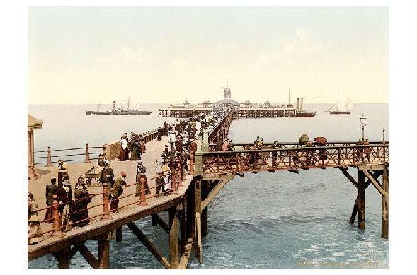 Altes Photochrome-Farbfoto Seebrücke von Margate (Neudruck als Postkarte)