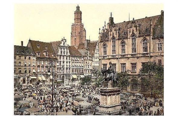 Altes Photochrome-Farbfoto Kurfürstenstatue am Ring in Breslau (Neudruck als Postkarte)