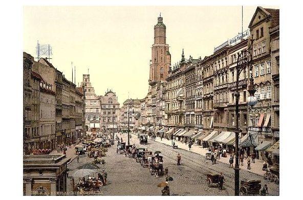 Altes Photochrome-Farbfoto Ostseite vom Ring in Breslau (Neudruck als Postkarte)