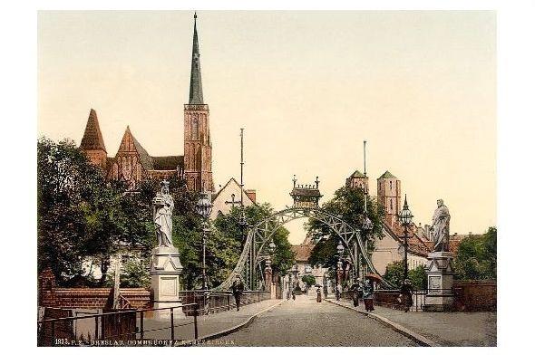 Altes Photochrome-Farbfoto Dombrücke und Kreuzkirche in Breslau (Neudruck als Postkarte)