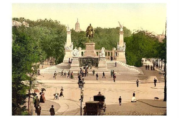 Altes Photochrome-Farbfoto Kaiser Wilhelm-Denkmal in Breslau (Neudruck als Postkarte)