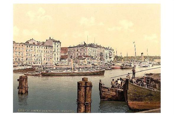 Altes Photochrome-Farbfoto Dampfschiff Bollwerk in Stettin (Neudruck als Postkarte)