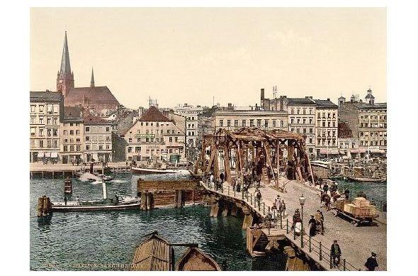 Altes Photochrome-Farbfoto Lange Brücke in Stettin (Neudruck als Postkarte)