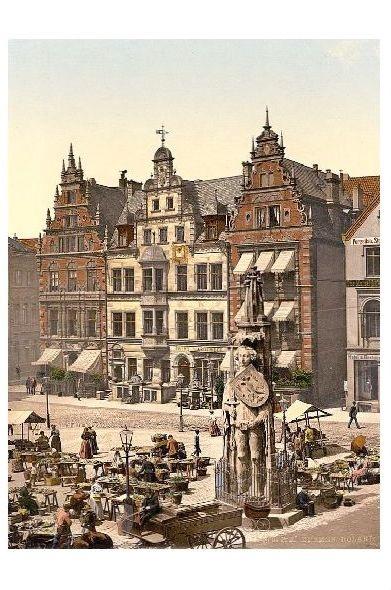 Altes Photochrome-Farbfoto Roland in Bremen (Neudruck als Postkarte)