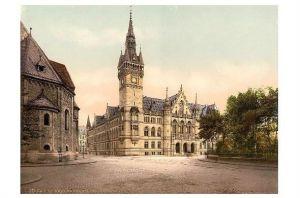 Altes Photochrome-Farbfoto Neues Rathaus in Braunschweig (Neudruck als Postkarte)