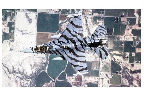 Farbfoto F 16 mit Tarnlackierung in der Luft (Neudruck als Postkarte)