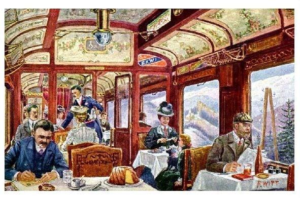 Künstlerkarte Innenansicht eines österreichischen Speisewagens (Neudruck als Postkarte)