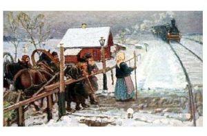 Künstlerkarte Boskin - Bauern stehen an einem Bahnübergang in Rußland (Neudruck als Postkarte)