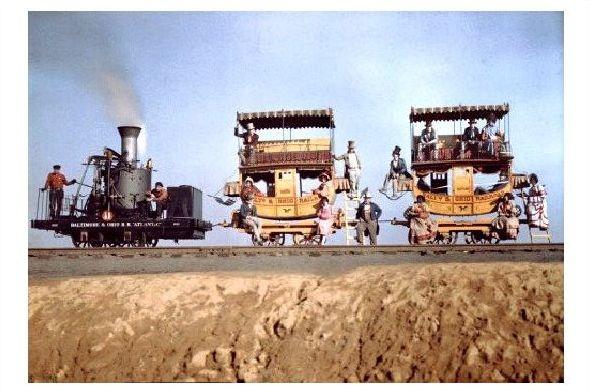 Altes Farbfoto Dampflok und 2 Personenwagen des Atlantic bei Ausstellung in der Nähe von Baltimore in Maryland (Neudruck als Postkarte)