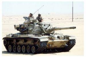 Farbfoto Kampfpanzer M 60 in der Wüste (Neudruck als Postkarte)