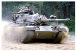 Farbfoto Kampfpanzer M 60 mit Nebelwerfer auf der Kanone (Neudruck als Postkarte)