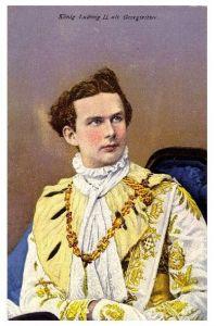 Altes Gemälde König Ludwig II. als Georgiritter (Neudruck als Postkarte)