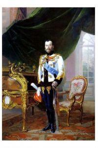Altes Gemälde Kaiser Nikolaus II. von Russland, König von Polen und Großfürst von Finnland (Neudruck als Postkarte)