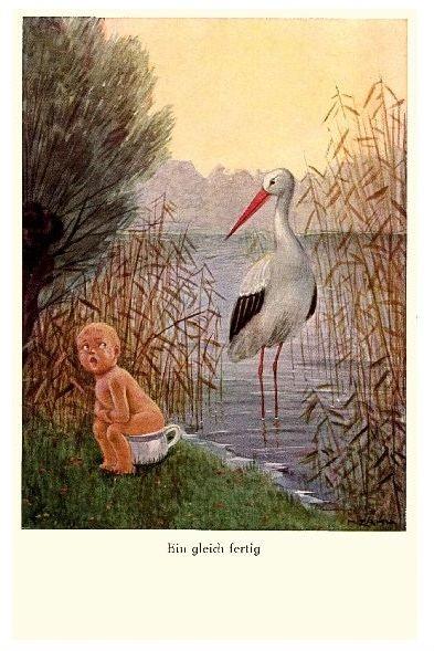 Alte Künstlerkarte Bin gleich fertig - Storch wartet auf Baby (Neudruck als Postkarte)