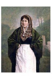 Altes Farbfoto Junge irische Frau in Tracht (Neudruck als Postkarte)