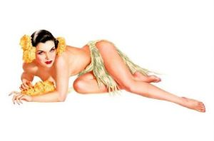 Alte Künstlerkarte Pin-Up Alberto Vargas - Hula Girl liegt auf Boden (Neudruck als Postkarte)