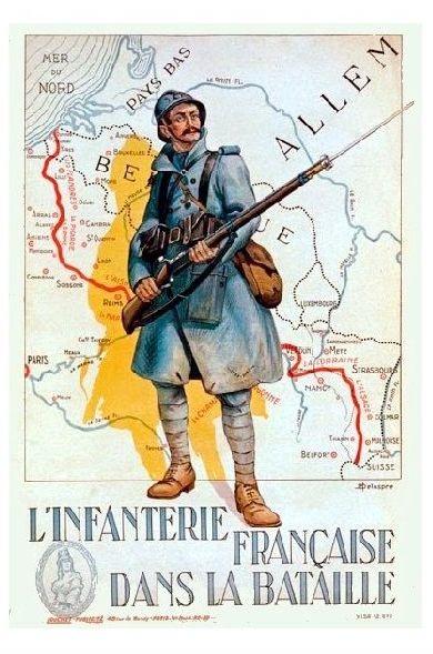 Propaganda 1. Weltkrieg Frankreich Französische Infanterie in der Schlacht (Neudruck als Postkarte)