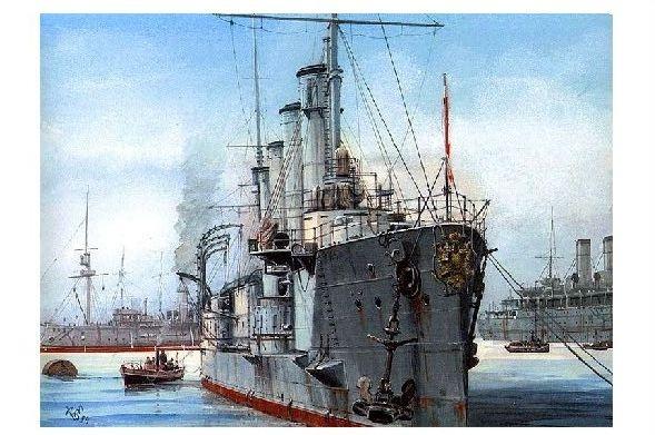 Alte Künstlerkarte Russischer Panzerkreuzer Bayan (Neudruck als Postkarte)