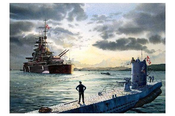 Alte Künstlerkarte Schlachtschiff Bismarck Und U 47 Neudruck Als