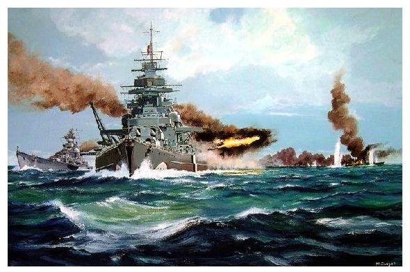 Alte Künstlerkarte Schlachtschiff Bismarck Und Kreuzer Prinz Eugen
