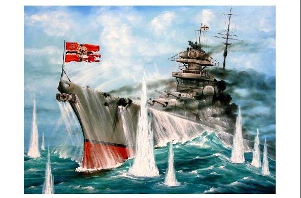 Alte Künstlerkarte Granateneinschläge Rund Um Das Schlachtschiff
