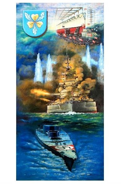 Alte Künstlerkarte Schlachtschiff Bismarck Vom Stapellauf Bis Zum