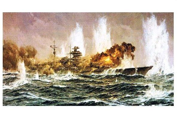 Alte Künstlerkarte Schlachtschiff Bismarck Im Gefecht Neudruck Als