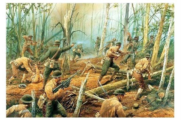 Künstlerkarte 1. WK Amerikaner im Wald von Belleau bei Gefecht mit Deutschen (Neudruck als Postkarte)