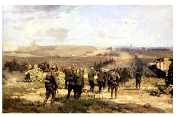 Künstlerkarte 1. WK Deutsche Kriegsgefangene bei Amiens 1918 (Neudruck als Postkarte)