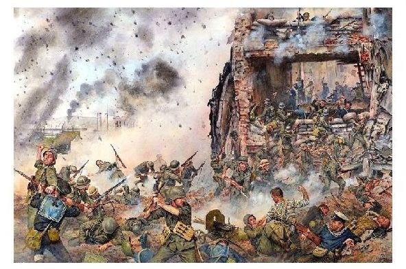 Künstlerkarte 2. WK Straßenkampf im Kaukasus 1942 (Neudruck als Postkarte)