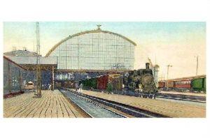 Alte Künstlerkarte Bahnhof von Malmö (Neudruck als Postkarte)