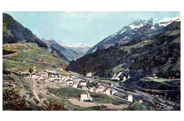 Altes Farbfoto Panorama von Airolo (Neudruck als Postkarte)